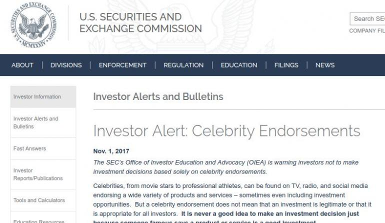 Us sec investor alert hints at icos warning against - Office of investor education and advocacy ...
